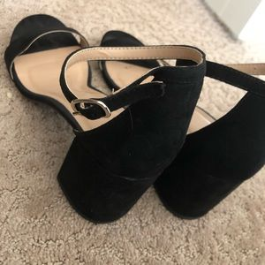 Black chunky heels (approx 2-3in height)